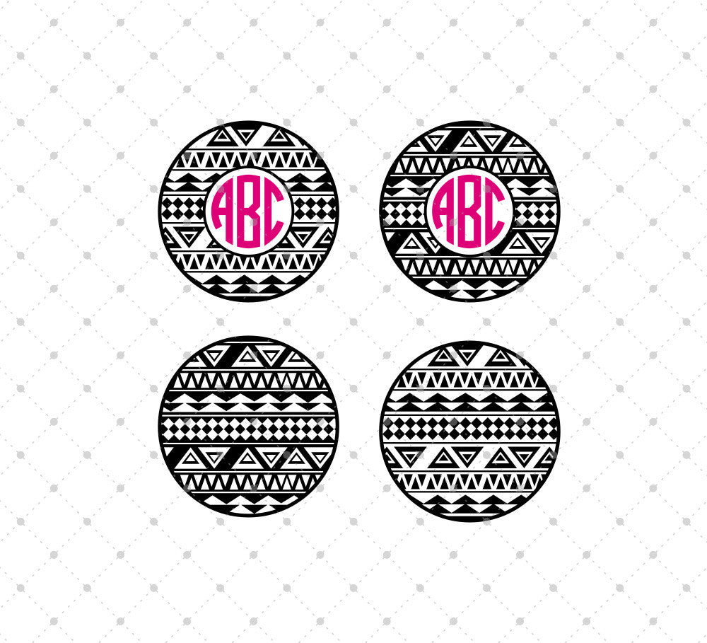 Aztec Monogram Frames SVG Cut Files