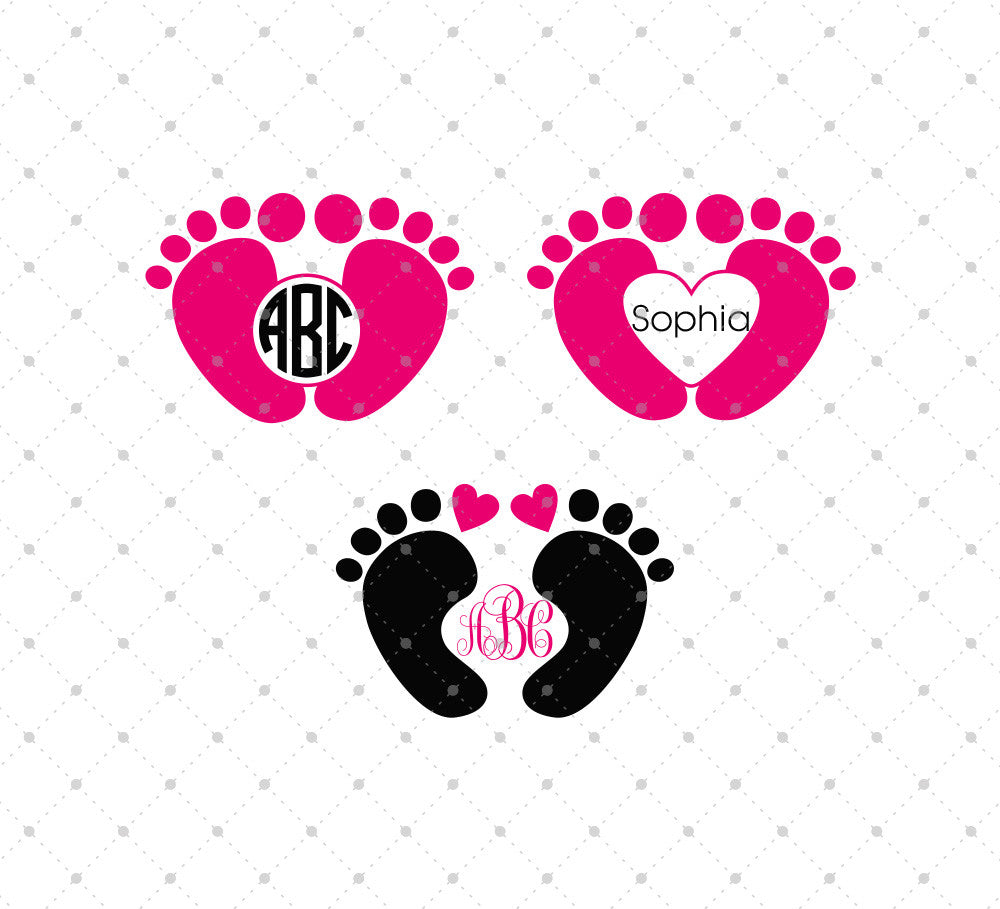 Baby Feet Monogram Frames SVG Cut Files - SVG Cut Studio