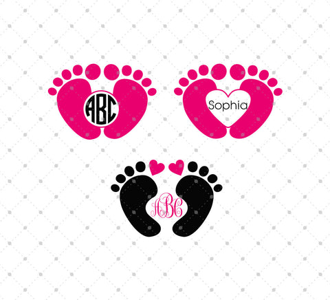 Baby Feet Monogram Frame Svg Files Svg Cut Studio