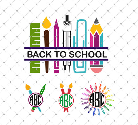 Back to School Monogram Frames SVG Cut Files - SVG Cut Studio