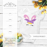 Easter Bunny Face with Bandana SVG Files