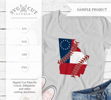 Georgia State Flag Baseball Stitches SVG PNG DXF cut Files cricut design Silhouette studio