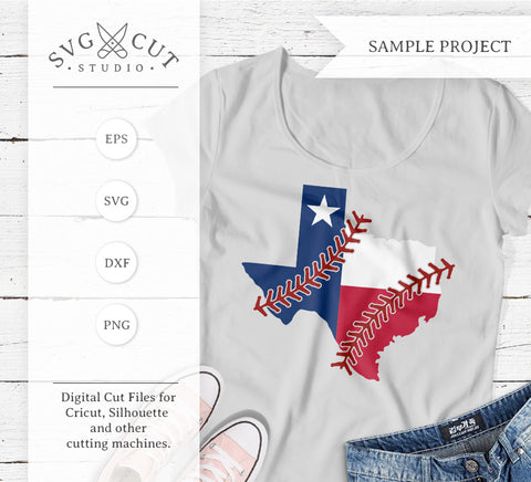 Texas State Flag Baseball stitches SVG PNG DXF files svg cut studio