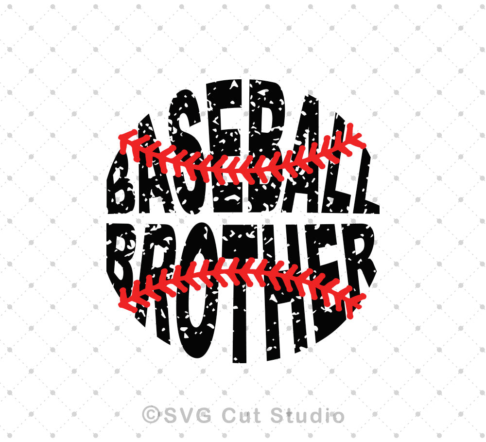 Baseball Brother distressed grunge pattern svg png dxf studio files for cricut and silhouette