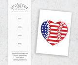 Baseball Heart SVG US Flag SVG