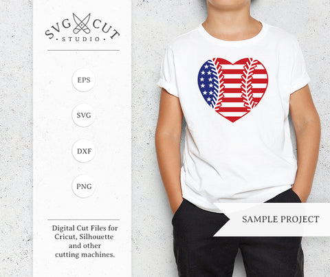 Baseball Heart SVG US Flag SVG at SVG Cut Studio for Cricut Explore Silhouette Cameo free svg files