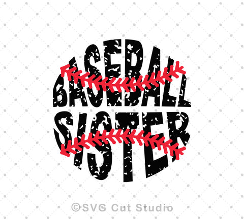 Baseball Sister distressed grunge pattern svg png dxf studio files for cricut and silhouette