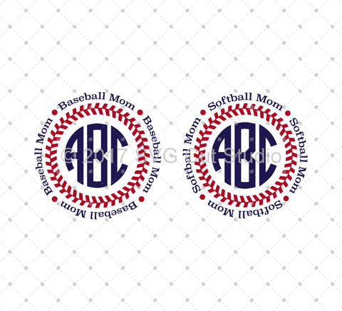 Baseball Softball Mom Circle monogram frame SVG Files for Cricut Explore Silhouette Cameo Etsy svg files