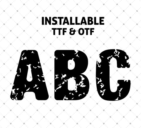 Distressed Basic Font - Installable TTF and OTF format for Cricut Silhouette printable png dxf clipart and free svg files by SVG Cut Studio