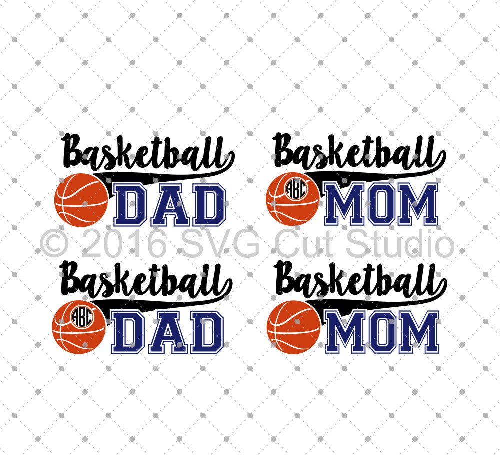Basketball Mom, Basketball Dad SVG Cut Files for Cricut Silhouette printable png dxf clipart and free svg files by SVG Cut Studio