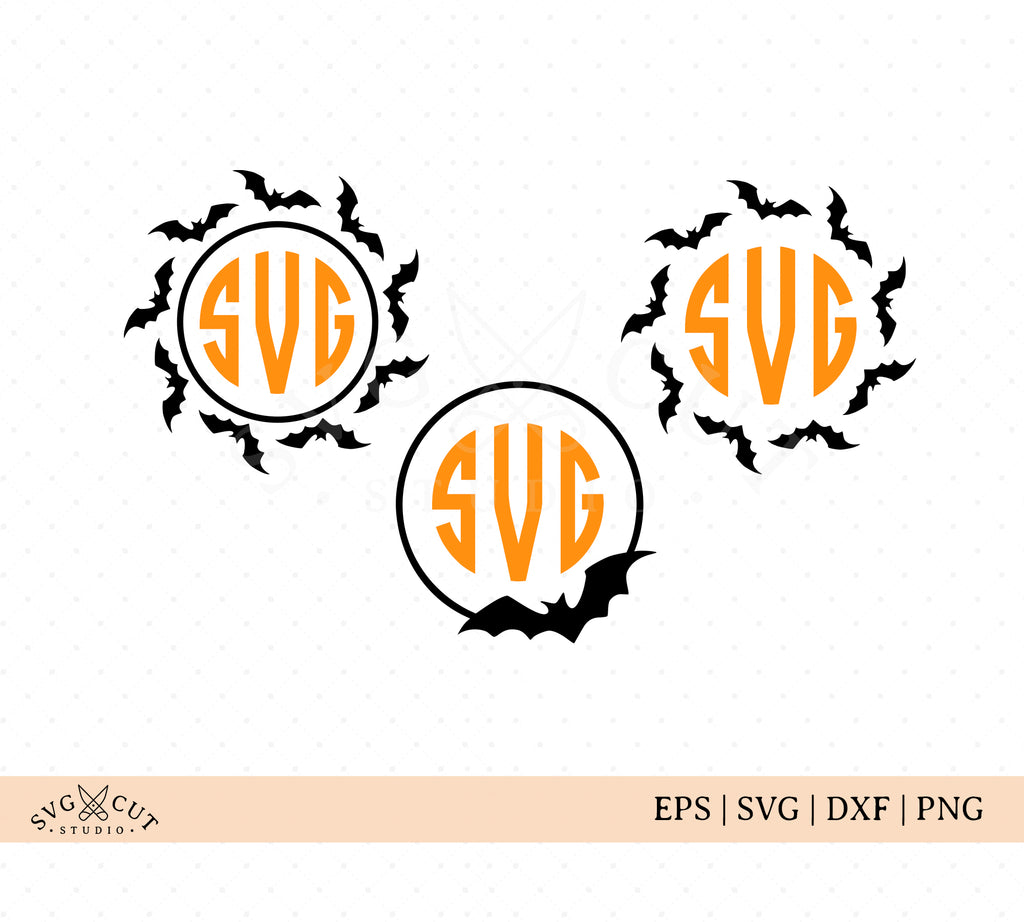 Halloween Bats Monogram Frames SVG Cut Files