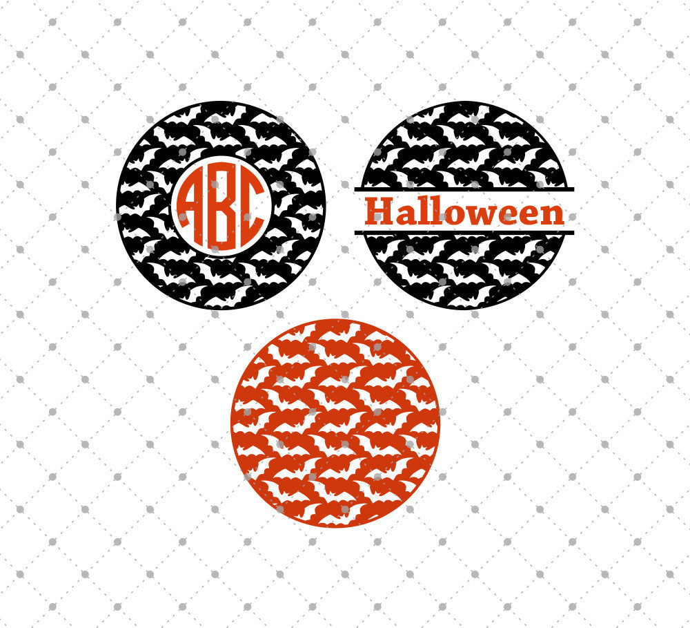 Bats Pattern Monogram Frames SVG Cut Files