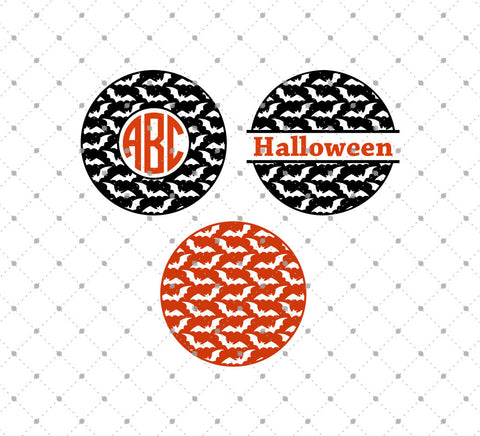 Bats Pattern Monogram Frames Halloween svg cut files
