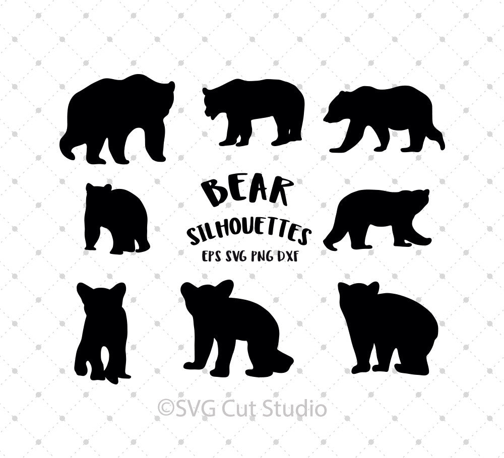 SVG files for Cricut Bear Silhouettes SVG Cut Files Silhouette Studio3 files PNG clipart free svg by SVG Cut Studio