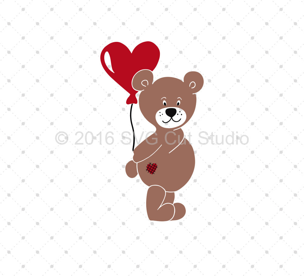 Valentine's Day Bear SVG Cut Files - SVG DXF PNG cut cutting files for Cricut and Silhouette by SVG Cut Studio