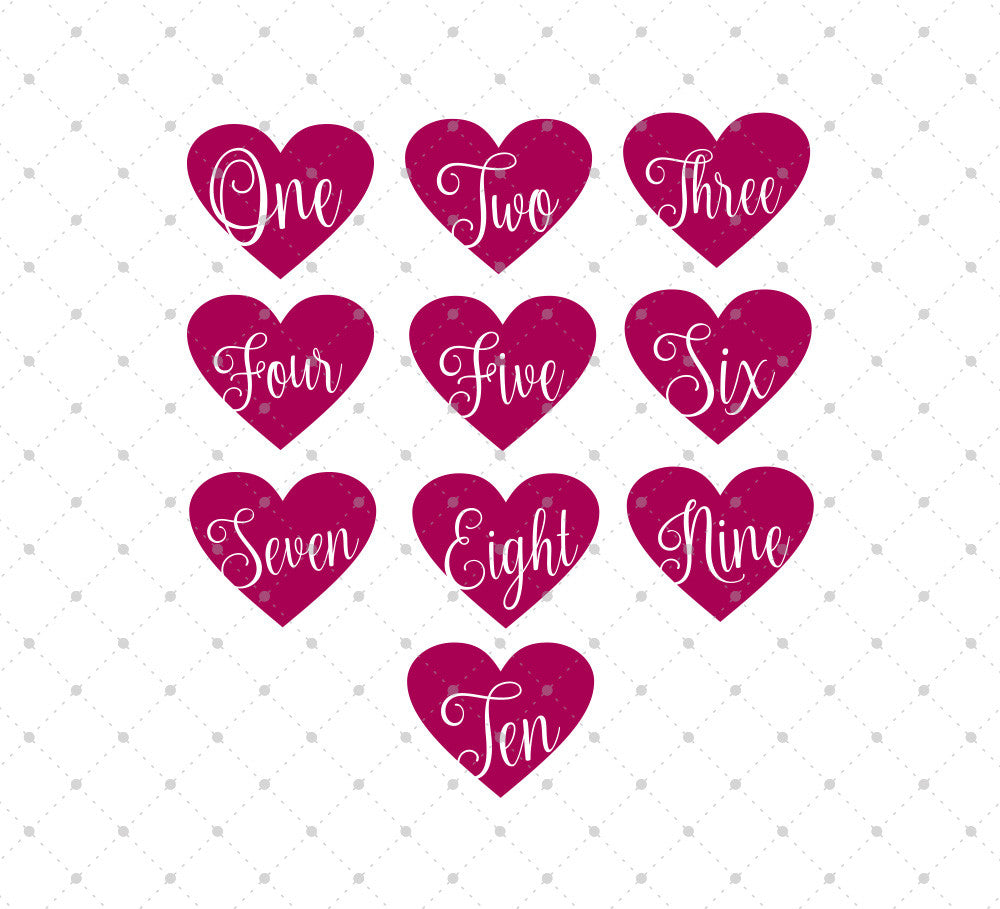 SVG files for Cricut Birthday Hearts Numbers SVG Cut Files Silhouette Studio3 files PNG clipart free svg by SVG Cut Studio