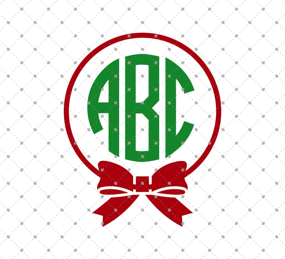 Bow Christmas Monogram SVG Cut Files