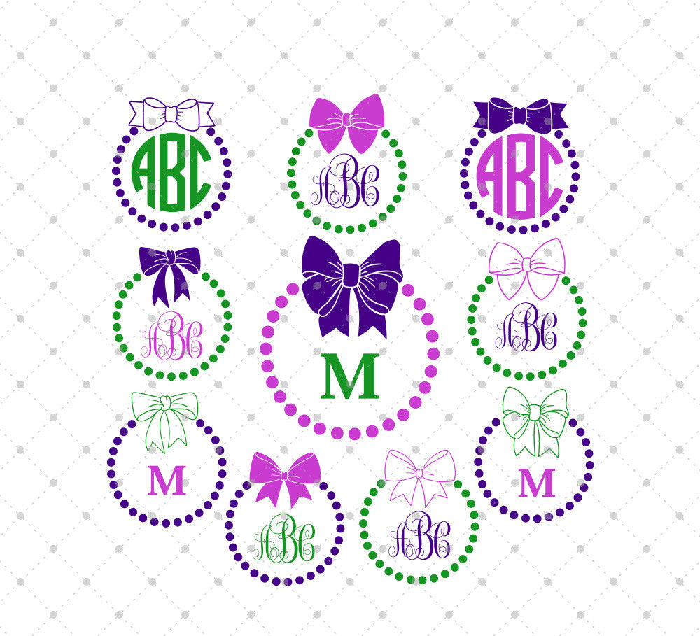 Bow and Pearls Circle monogram frame SVG Files for Cricut Explore Silhouette Cameo Etsy svg files @SVGCutStudio