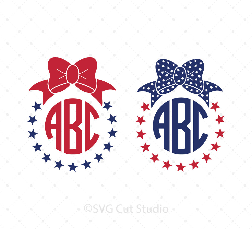 SVG files for Cricut 4th of July Bow Monogram Frames SVG Cut Files Silhouette Studio3 files PNG clipart free svg by SVG Cut Studio
