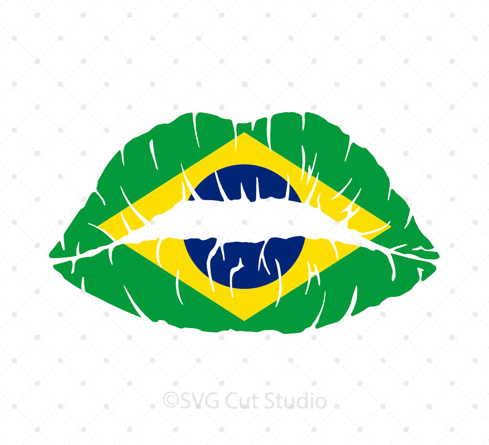 Brazilian Flag Girl Lips SVG Cut Files