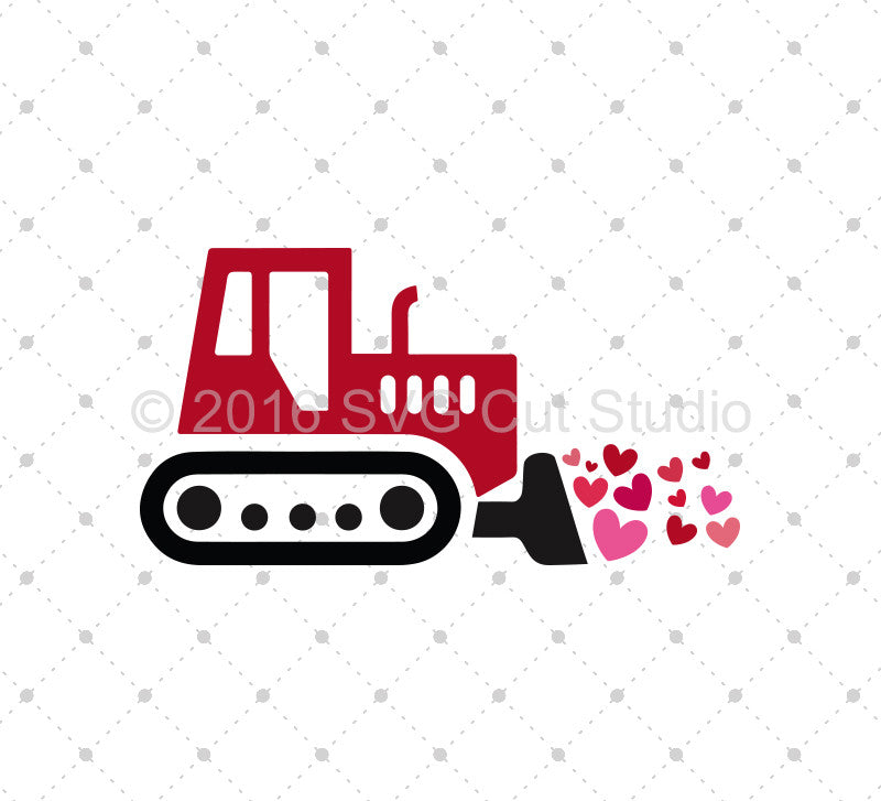 Valentine's Day Bulldozer SVG Cut Files - SVG DXF PNG cut cutting files for Cricut and Silhouette by SVG Cut Studio