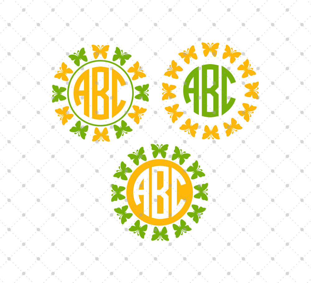 Butterfly Monogram Frames Cut Files #4 - SVG DXF PNG cut cutting files for Cricut and Silhouette by SVG Cut Studio