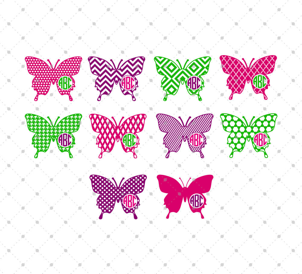Butterfly Monogram Frames Cut Files #3