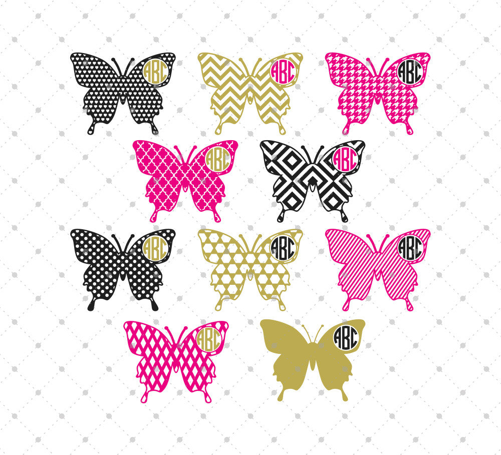 Butterfly Monogram Frames Cut Files #1