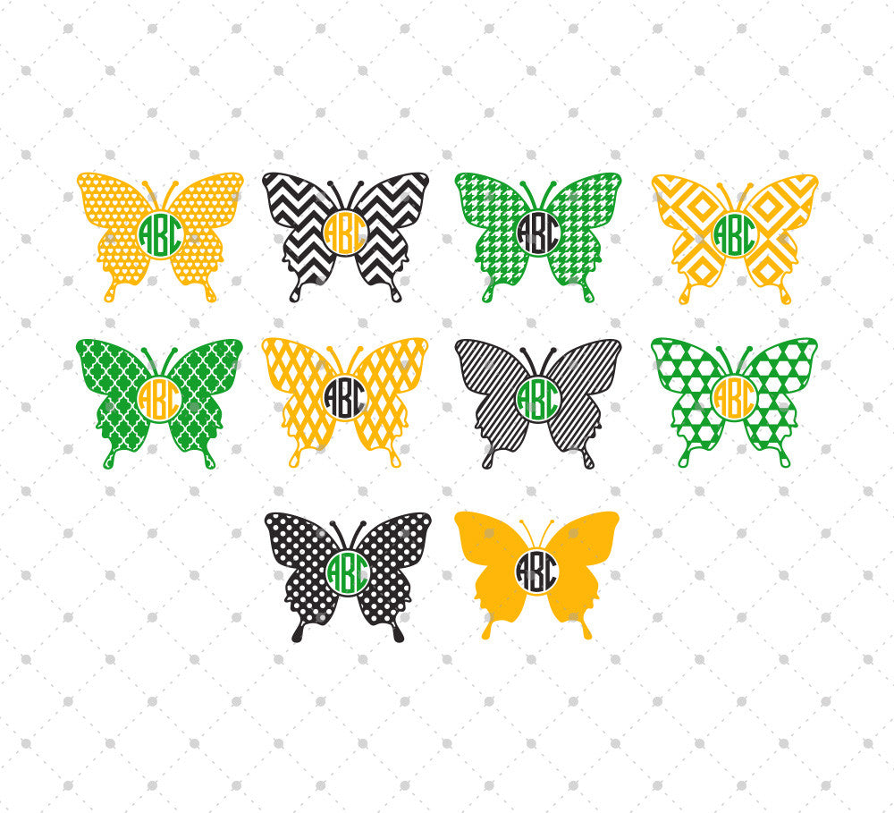 SVG files for Cricut Butterfly Monogram Frames Cut Files #2 Silhouette Studio3 files PNG clipart free svg by SVG Cut Studio