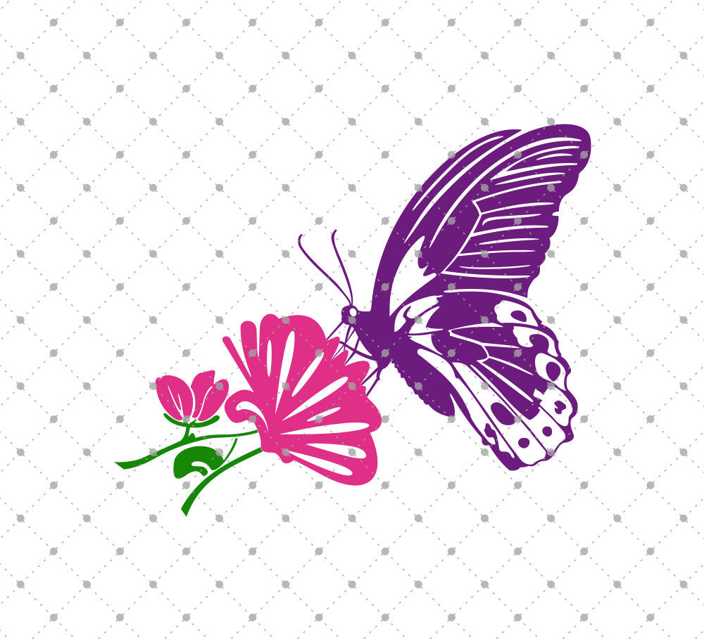 Butterfly with Flower SVG Cut Files - SVG Cut Studio