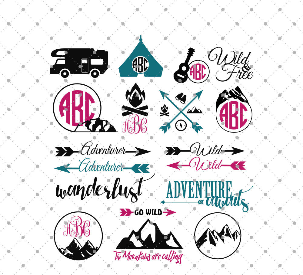 Camping SVG Cut Files for Cricut Silhouette printable png dxf clipart and free svg files by SVG Cut Studio