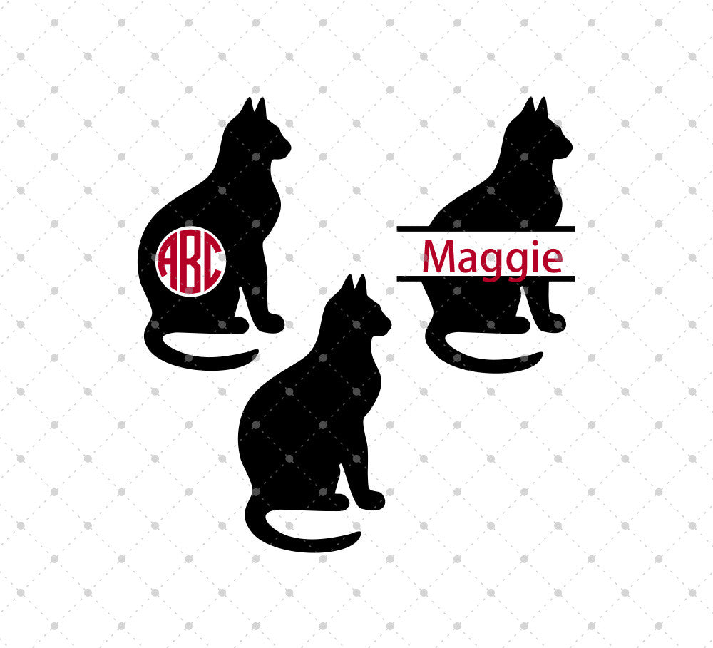 Cat Monogram SVG Cut Files