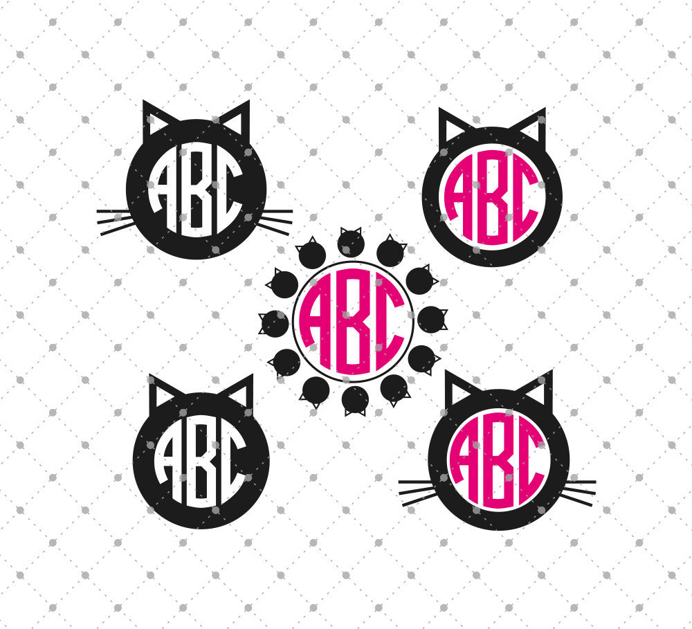 Cat Head Monogram SVG Cut Files - SVG DXF PNG cut cutting files for Cricut and Silhouette by SVG Cut Studio