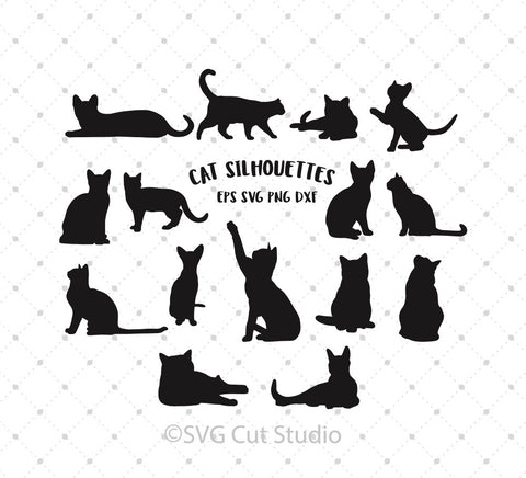 Cat Silhouettes SVG Cut Files