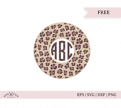 Cheetah Circle Monogram Frame SVG Cut Files