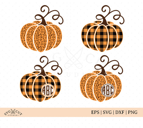 Plaid Cheetah Pumpkin SVG File