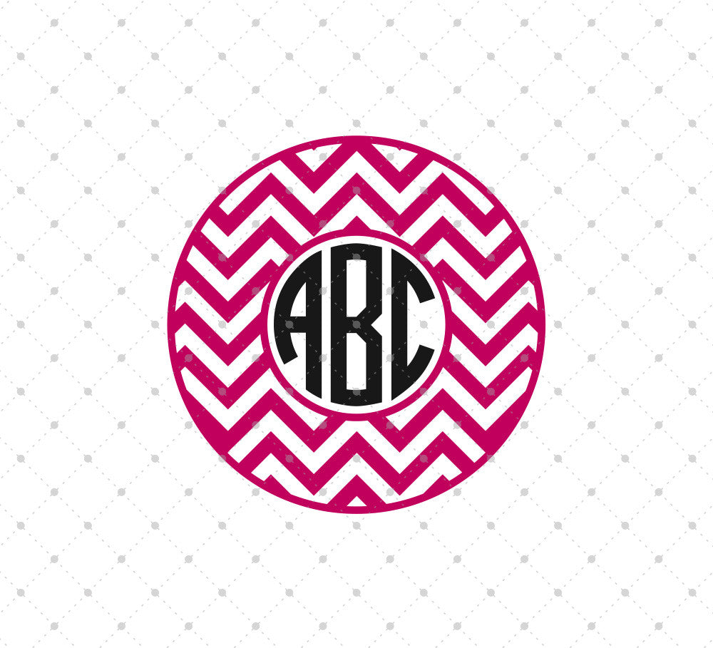 Chevron Circle Monogram SVG Cut Files - SVG Cut Studio