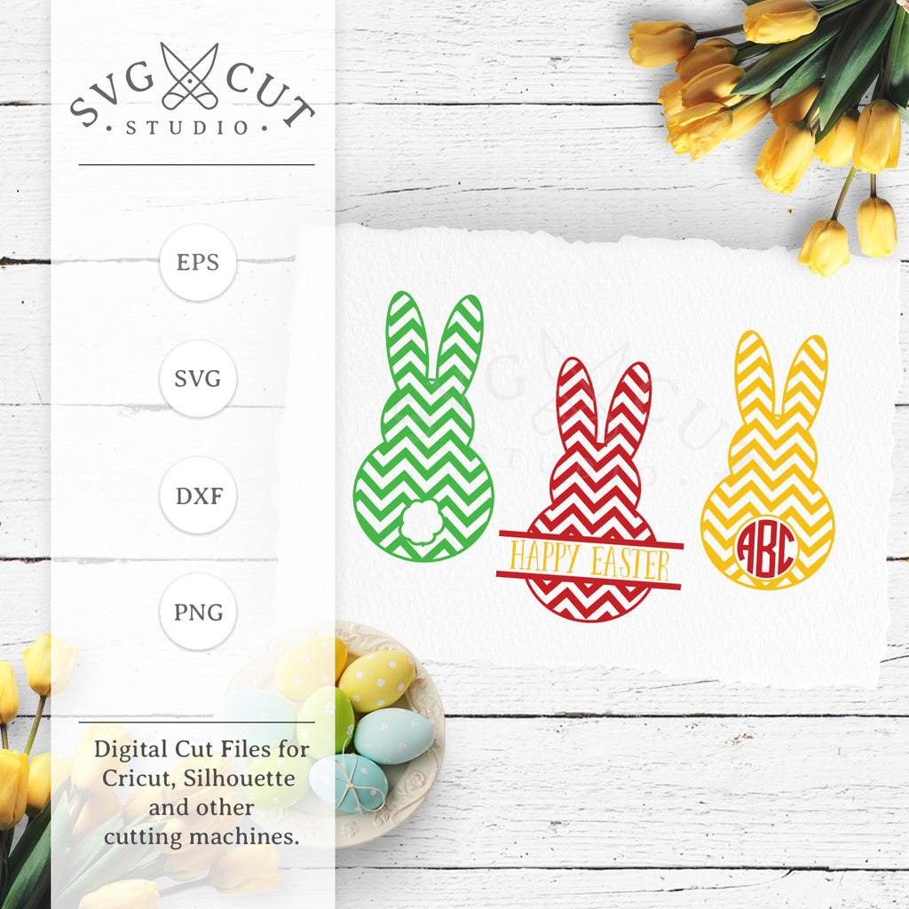 Chevron Easter Bunny SVG Cut Files