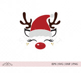 Reindeer Face with Santa hat svg files