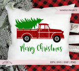 vintage christmas truck svg files