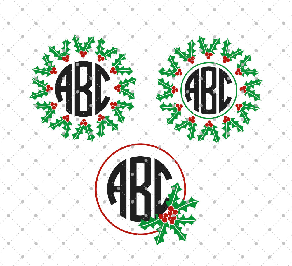 Christmas Holly Monogram SVG Cut files