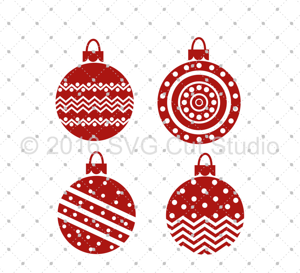 Christmas Tree Ball Ornaments SVG Cut Files D5