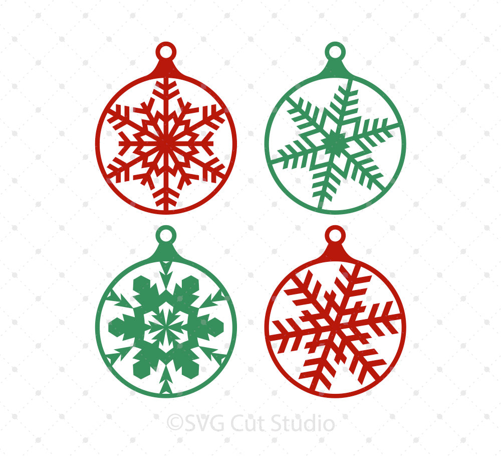 Christmas Tree Snowflake Balls SVG Cut files