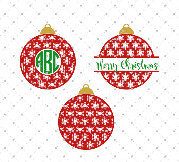 Christmas Tree Ball Monogram SVG Cut Files