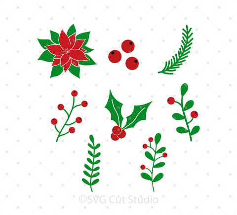 Christmas Wreath Elements SVG Cut files at SVG Cut Studio