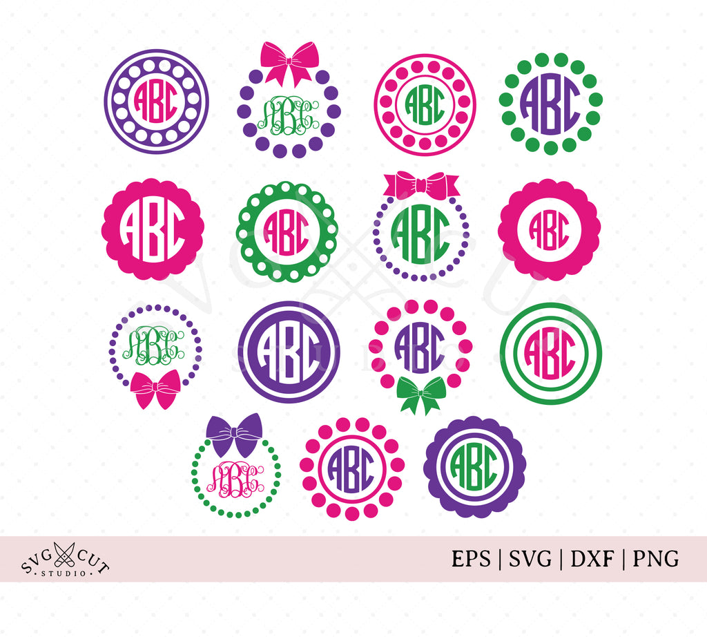 Circle Monogram Frames SVG Files