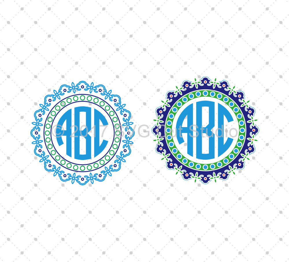 Circle Monogram SVG Cut Files D9