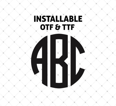 Installable Circle Monogram True Type Font for Cricut Silhouette printable png dxf clipart and free svg files by SVG Cut Studio