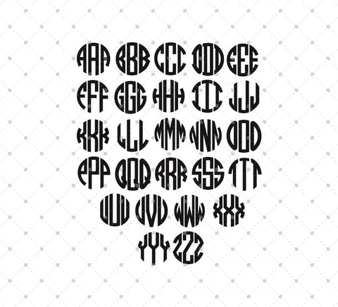 Circle Monogram Font Svg Dxf Png Cut Files For Cricut And Silhouette Svg Cut Studio