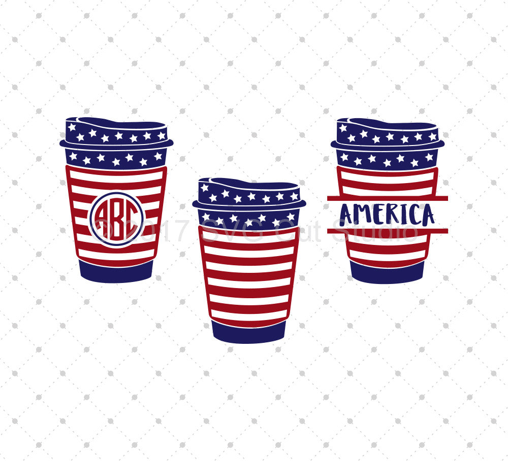 SVG files for Cricut 4th of July Coffee Cup SVG Cut Files Silhouette Studio3 files PNG clipart free svg by SVG Cut Studio